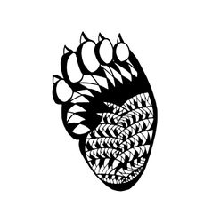 Zentangle stylized bear paw Sketch for tattoo or vector image vector image