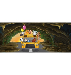 A bus full of animals inside the cave vector image