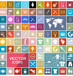 Colorful Squares Flat Icons Set vector image vector image