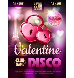 Disco Valentine background Disco poster vector image vector image