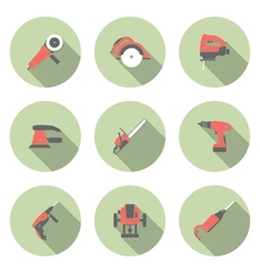 Electric tool flat icons set vector image vector image