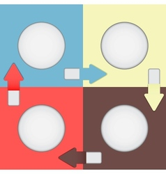 Four color squares with arrows vector image vector image
