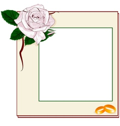 Frame with light pink rose and rings EPS10 vector image