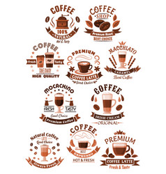 icons coffee set for cafeteria or cafe vector image
