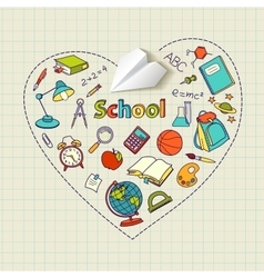 Paper plane and school doodle heart-shaped vector image vector image