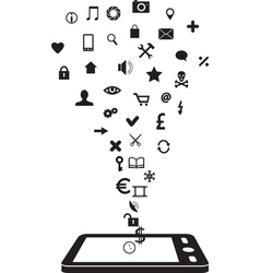 phone and icons vector image
