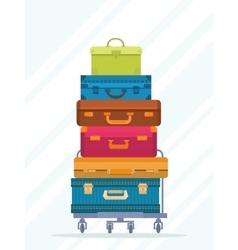 Travel colorful stacked suitcases isolated vector image