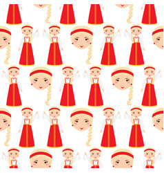beautiful woman in russian traditional headscarf vector image