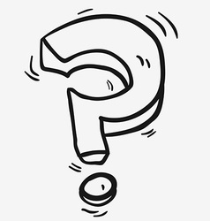 black and white freehand drawn cartoon question vector image vector image