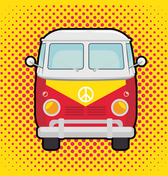 colorful hippie bus cartoon vector image