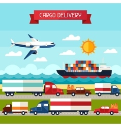 Freight cargo transport background in flat design vector image vector image