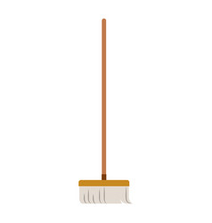 broom with wooden stick in colorful silhouette vector image