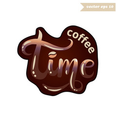 brown color coffee lettering vector image