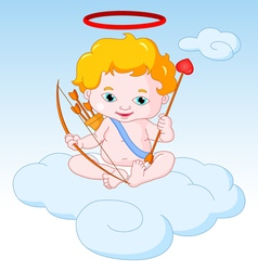 Cupid sitting on the cloud vector