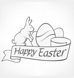 easter rabbits white vector image vector image