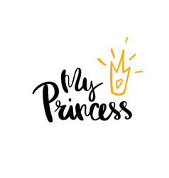 my princess calligraphy for typography vector image vector image