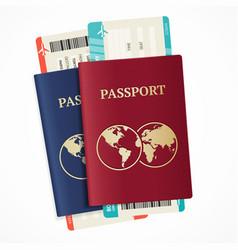 realistic international passport set vector image vector image