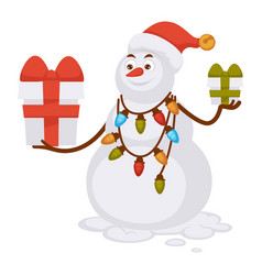 snowman in christmas hat and garland with lights vector image