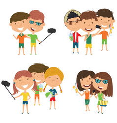 summer male and female characters make a selfie vector image vector image