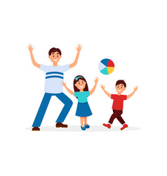 young father playing in ball with his children vector image