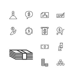 13 wealth icons vector