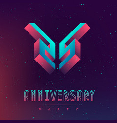 25 anniversary night party space poster for vector