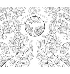 Adult coloring bookpage a christmas decoration vector