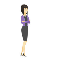 Asian business woman standing with folded arms vector