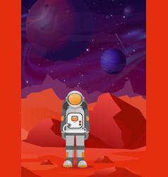 Astronaut on mars red vector