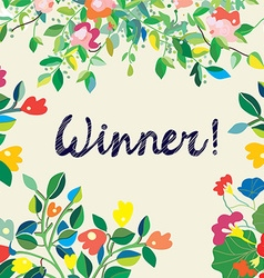 Background for the winner certificate with floral vector