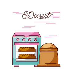Bakery stove oven with two hot bread sack flour vector