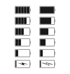 battery charge and recharge icons power capacity vector image