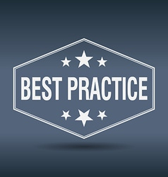 Best practice hexagonal white vintage retro style vector