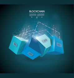 block chain with connected crystal block miner of vector image