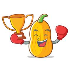 Boxing winner butternut squash mascot cartoon vector