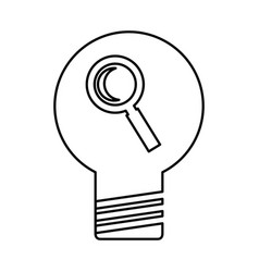 Bulb light with magnifying glass vector