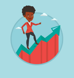business woman standing on growth graph vector image