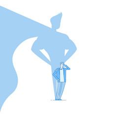 businessman with superhero shadow strong man vector image