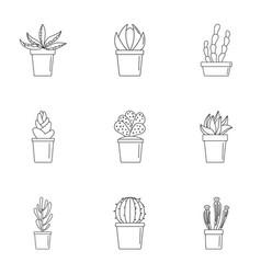 cactus pot icon set outline style vector image