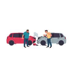Car accident automobiles crash transport vector