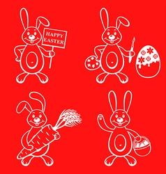 Cartoon bunny set vector