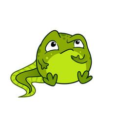 cartoon of cute green baby tadpole vector image