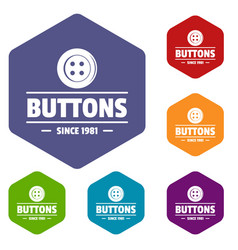 Clothes button dressmaking icons hexahedron vector