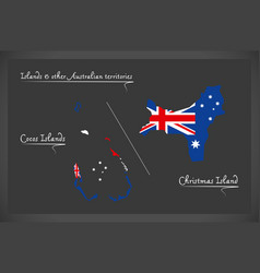 Cocos islands and christmas island map with vector