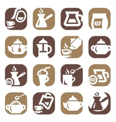 Color coffee and tea icons set vector