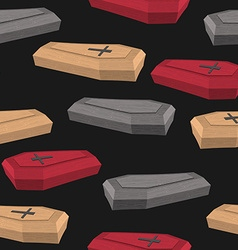 Colourful coffins seamless pattern on a black vector