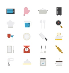 Cooking and Kitchen Utensil Flat Icons color vector
