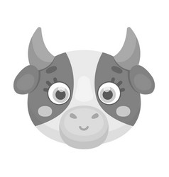 Cow muzzle icon in monochrome style isolated on vector