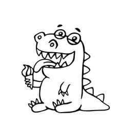Cute dragon licks plombir vector