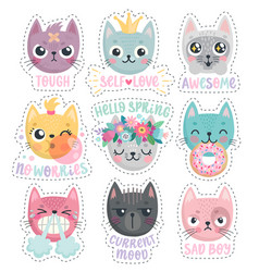 Cute kittens characters with different emotions vector
